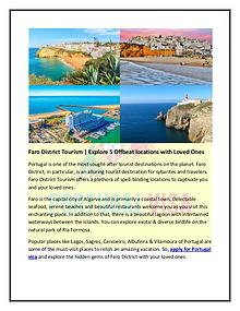 Faro District Tourism   Explore 5 Offbeat locations with Loved Ones