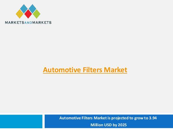 Automotive Market Revenue, Trends, Growth, Technologies, CAGR Automotive Filters Market