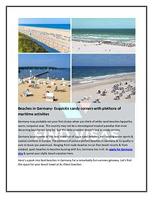 Beaches in Germany- A perfect Backdrop of idyllic beach vacation