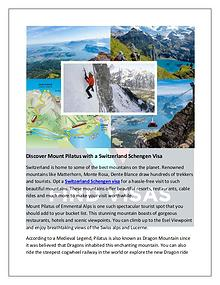 Discover Mount Pilatus with a Switzerland Schengen Visa