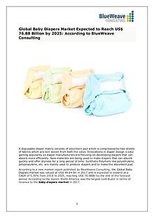 Baby Diapers Market Analysis, Size,Growth, Trends and Forecast 2025
