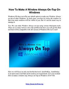How To Make A Window Always-On-Top On Windows