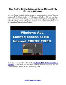 How to Fix Limited Access or No Connectivity Errors in Windows