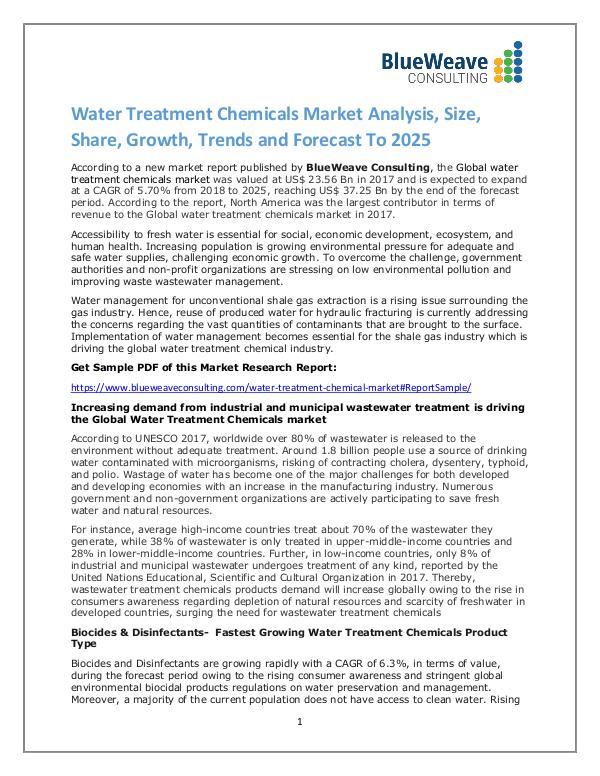 Water Treatment Chemicals Market Analysis,Growth, Trends 2025 Global Water Treatment Chemicals Market
