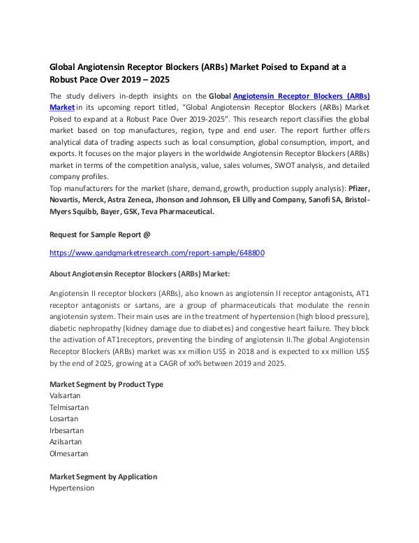 Global Angiotensin Receptor Blockers (ARBs) Market Poised to Expand a Global Angiotensin Receptor Blockers