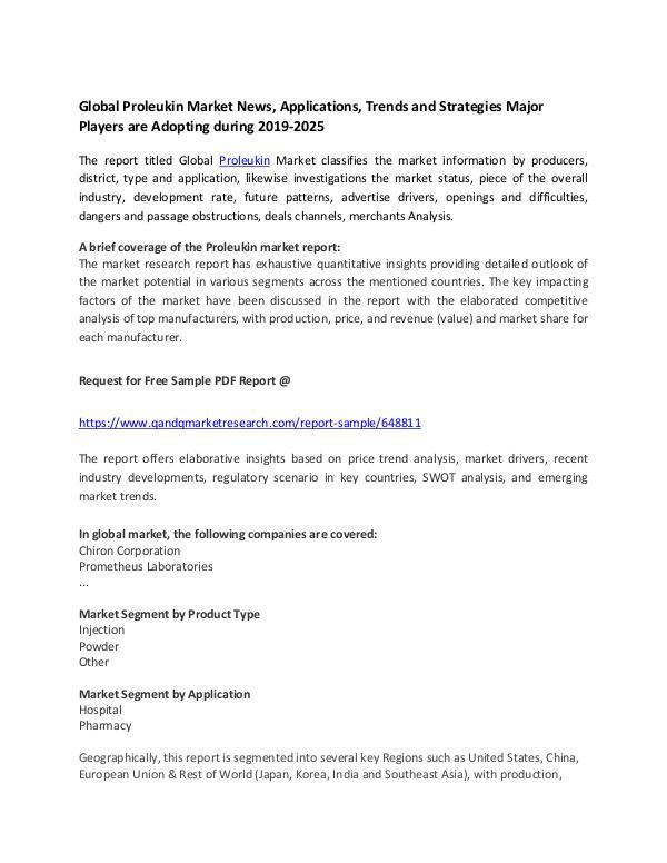 Global Proleukin Market News, Applications, Trends and Strategies Maj Global Proleukin