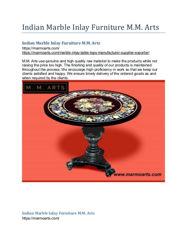 Indian Marble Inlay Furniture M.M. Arts Indian Marble Inlay Furniture M.M. Arts
