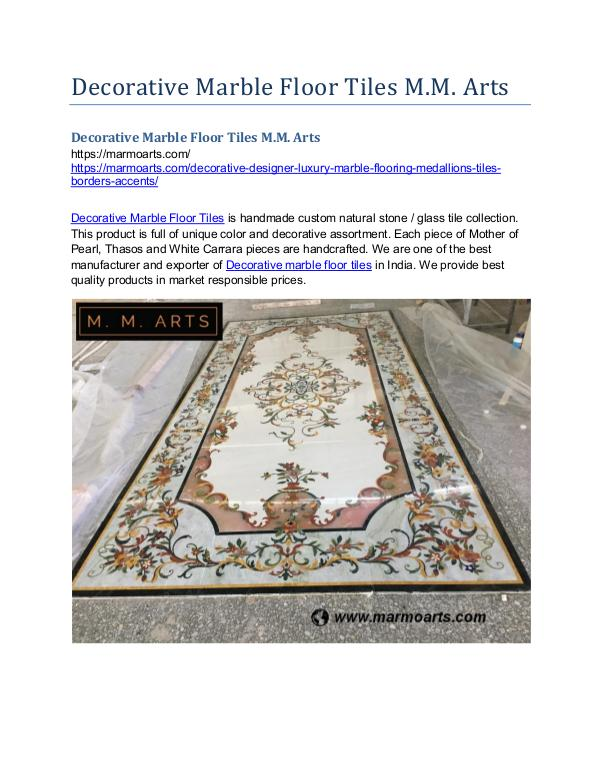 Decorative Marble Floor Tiles M.M. Arts Decorative Marble Floor Tiles M.M. Arts