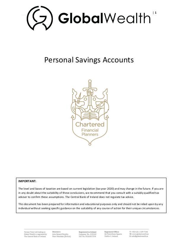 Personal Savings Accounts Personal Savings Accounts