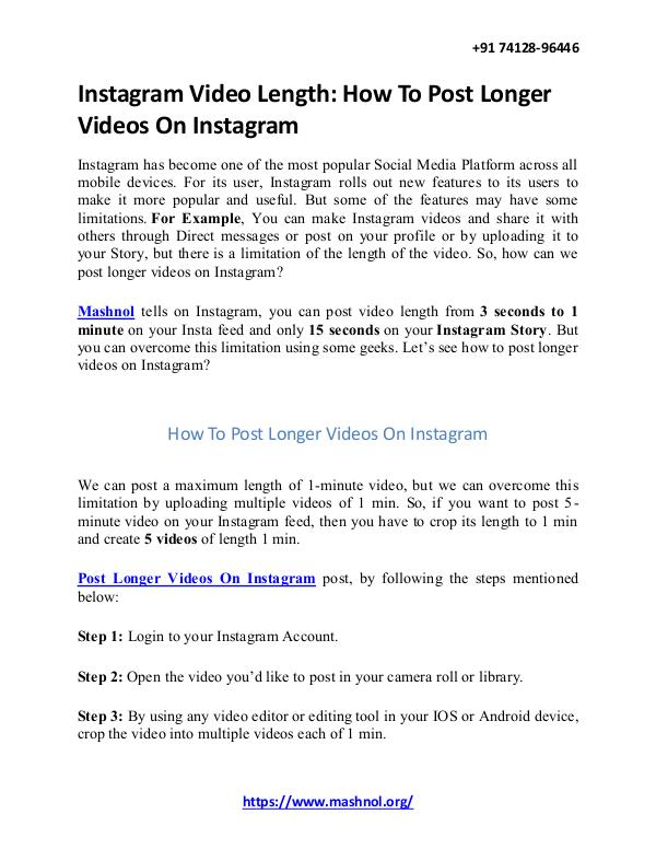 How To Remove Mobile Number From Instagram Account Instagram Video Length: How To Post Longer Videos