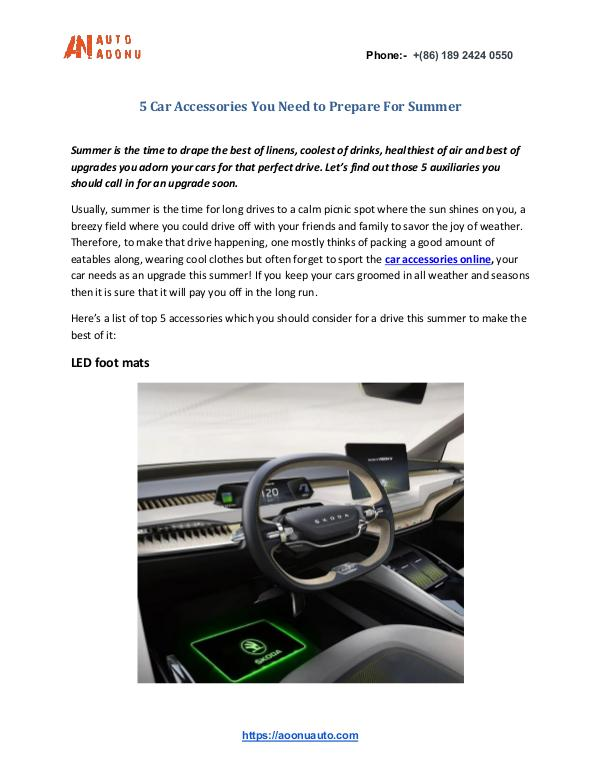 5 Most Popular Car Accessories of Aoonuauto 5 Car Accessories You Need to Prepare For Summer