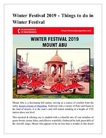 Winter Festival 2019 - Things to do in winter festival