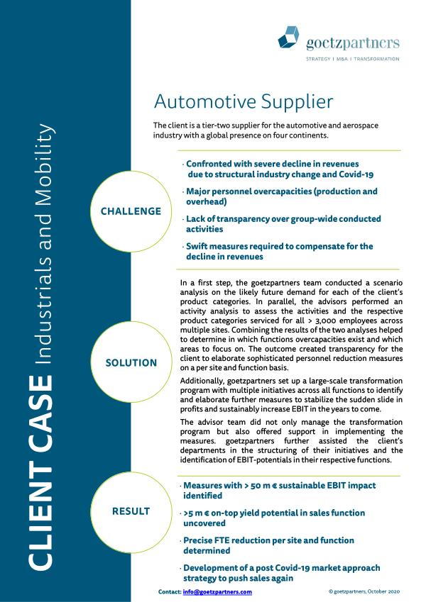 Client Case: Automotive Supplier