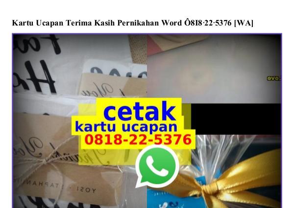Kartu Ucapan Terima Kasih Pernikahan Word 08I8·22·5376[wa] kartu ucapan terima kasih pernikahan word